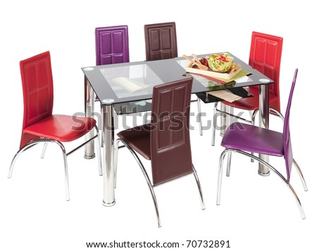 Glass top dining table and chairs - isolated