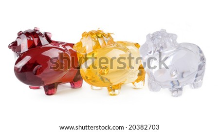 Glass toys isolated over white background