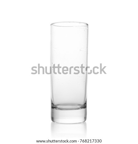 Glass tumbler on white background. tall glass, H20