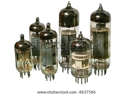 Glass vacuum radio tubes. Isolated image on white background - stock photo