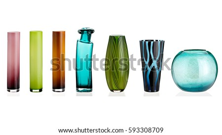 Glass vase, collage, on isolated white background.