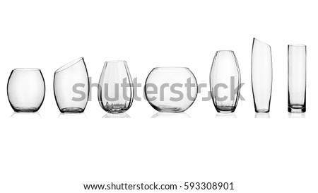 Glass vase, collage, on isolated white background. #593308901