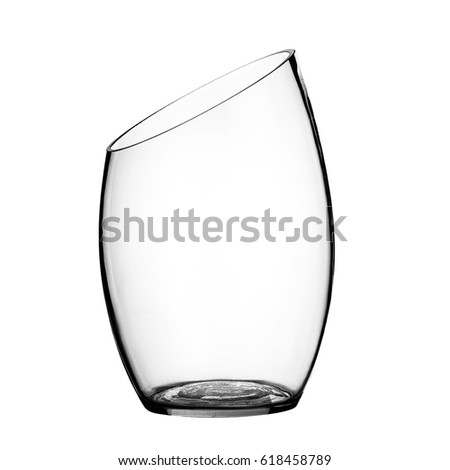 Glass vase, on a  isolated white background. #618458789