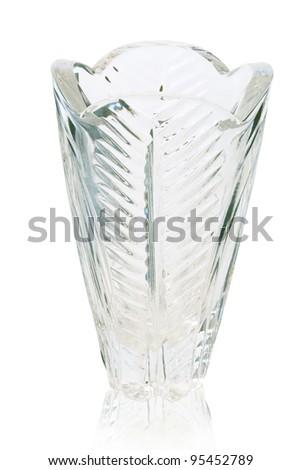 Glass vase over white background