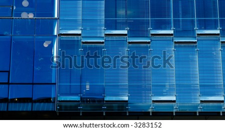 glass wall of downtown building