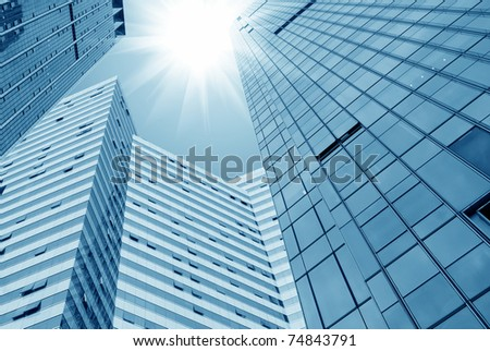 Glass wall of office buildings