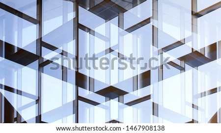 Glass walls with metal framework. Double exposure photo of office building exterior or interior fragment. Abstract modern architecture background with geometric structure of structural glazing. #1467908138