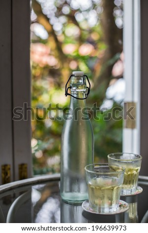 glass water bottle  on natural background