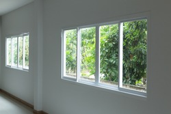 glass window sliding on white wall interior house