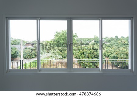 glass window sliding on white wall interior house stock photo