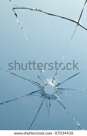 Glass  windows  shot  hole  cracks