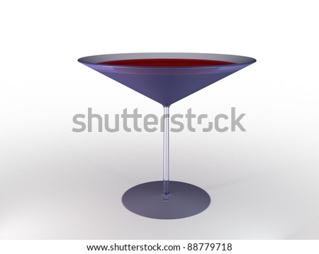Glass wine glass with colored liquid on a white background.?4