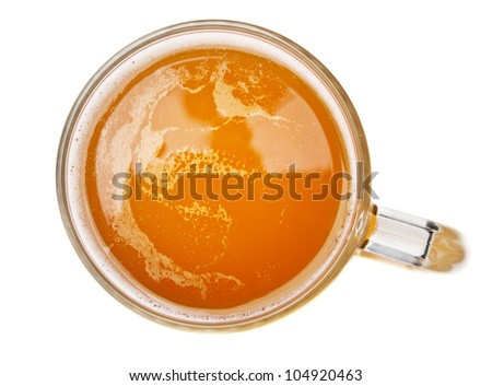 glass with beer isolated on white. Top view.