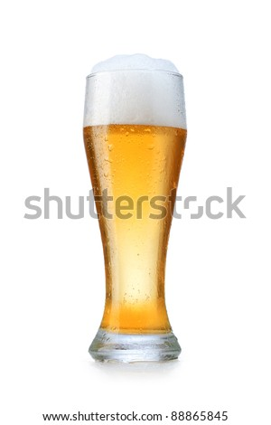 glass with beer on a white background