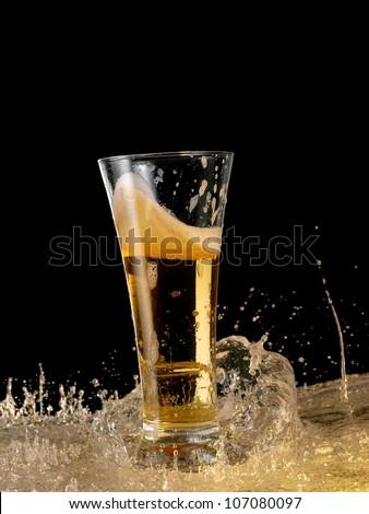 Glass with beer splash