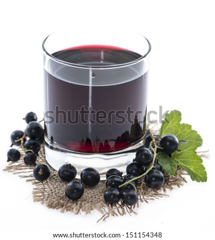 Glass with Black Currant juice isolated on white