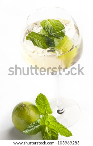 glass with cocktail on white background