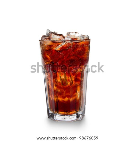Glass with cola and ice cubes over white
