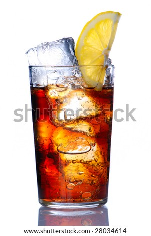 Glass with cola & lemon isolated on white