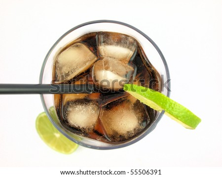 Glass with cola on white background
