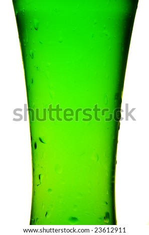 Glass with cold green beverage
