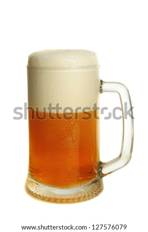 Glass with dark beer isolated on the white