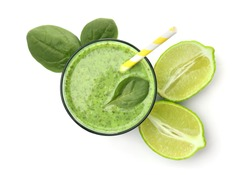 Glass with delicious detox smoothie on white background, top view