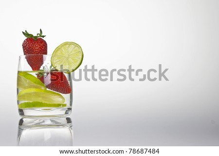 glass with lemon and strawberry