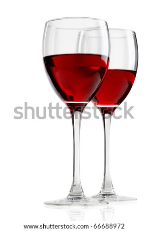 Glass with red wine - stock photo