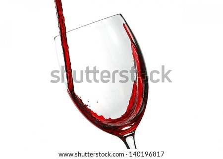 Glass with red wine splash on white background
