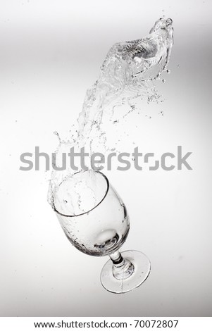 Glass with splash isolated in white