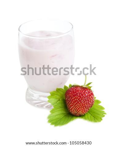 Glass with Strawberries yogurt on a white background
