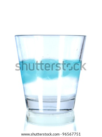 Glass with water and ice  on white background