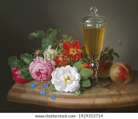 Glass with wine and roses . Still life. In the style of the ancient Dutch masters. Painting oil canvas 2021. Foto stock ©