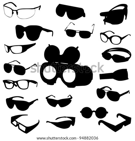 Glasses and sunglasses set. Raster version.