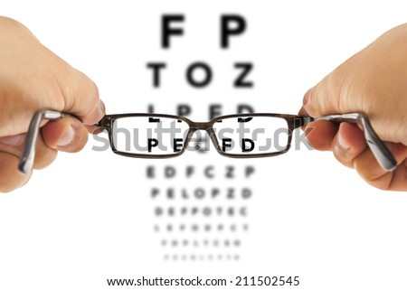 glasses being hold in front of an alphabet eyesight test charts isolated on white background