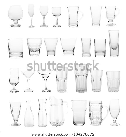 glasses collection isolated on a white