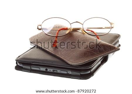 glasses eBook reader white isolated background nobody