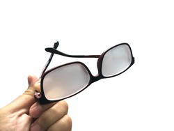 Glasses fogged on white background