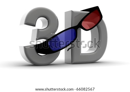 """Glasses for 3D vision on a """"3d"""" text - stock photo"""
