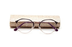 glasses for eyesight, glass. Storage case for glasses. On an isolated white background.