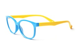 Glasses for sight. Kids optical frame. Plastic glasses for reading are isolated on a white background. Optical accessories frame, glasses for distance, reading, sight.