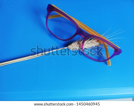 glasses for the sight on a light blue background with wheat stalks Modern eyeglasses with progressive lenses #1450460945