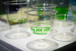 glasses in compostable bioplastic, plastic free