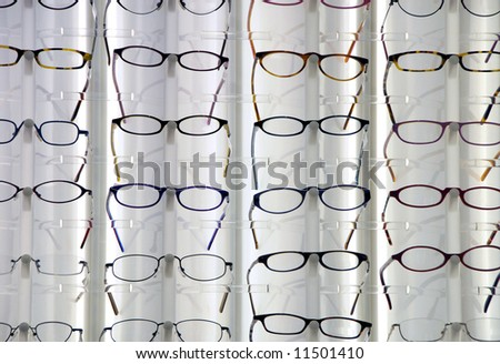 Glasses in the optician