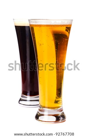 Glasses lager and dark beer isolated on white