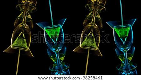 Glasses mix color on black background