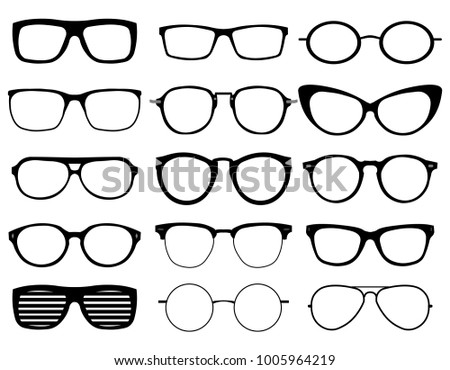 Glasses model icons, man, women frames. Sunglasses, eyeglasses black ...