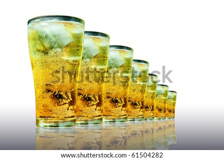 glasses of beer isolated on white background