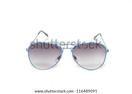 glasses of blue color on a white background